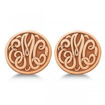Custom 3 Initial Monogram Post-back Circle Earrings 14k Rose Gold