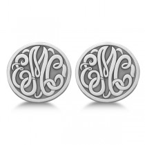 Custom 3 Initial Monogram Post-back Circle Earrings in 14k White Gold