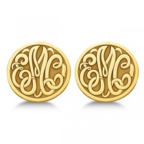 Custom 3 Initial Monogram Post-back Circle Earrings 14k Yellow Gold
