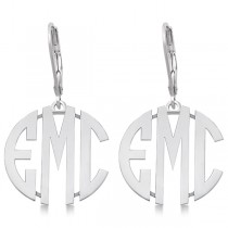 Bold 3 Initials Monogram Earrings in 14k White Gold