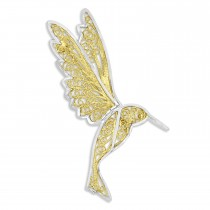Diamond-Cut  Pin 14k Two Tone Gold