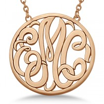 Custom Initial Circle Monogram Pendant Necklace in 14k Rose Gold