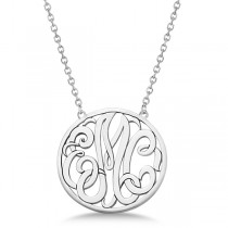 Custom Initial Circle Monogram Pendant Necklace in Sterling Silver