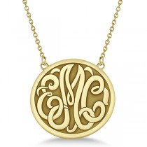 Engraved Initial Circle Monogram Pendant Necklace in 14k Yellow Gold