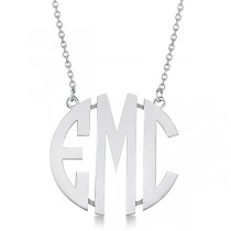 Bold-Face Custom Initial Monogram Pendant Necklace in Sterling Silver|escape
