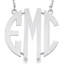 Bold-Face Custom Initial Monogram Pendant Necklace in 14k White Gold