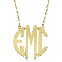 Bold-Face Custom Initial Monogram Pendant Necklace in 14k Yellow Gold