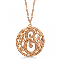 Custom Single Initial Monogram Pendant Necklace 14k Rose Gold