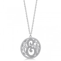 Custom Single Initial Monogram Pendant Necklace Sterling Silver