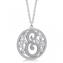 Custom Single Initial Monogram Pendant Necklace 14k White Gold