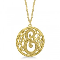 Custom Single Initial Monogram Pendant Necklace 14k Yellow Gold