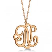 Personalized Single Initial Cursive Monogram Necklace 14k Rose Gold