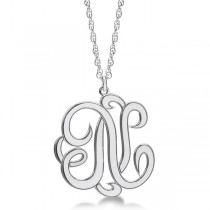 Personalized Single Initial Cursive Monogram Necklace Sterling Silver