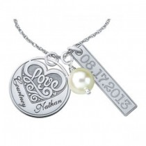 Personalized Charm Necklace Pendant w/ Freshwater Pearl 14k White Gold