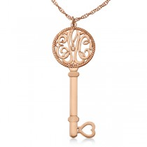 Personalized Key Initial Monogram Pendant Necklace in 14k Rose Gold