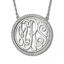 Monogram Initial Necklace with Diamond Accents 14k White Gold (0.34ct)