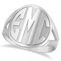Personalized Bold Initial Monogram Fashion Ring in Sterling Silver