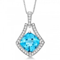 Diamond Accented Blue Topaz Pendant Neklcace 14k White Gold (2.53ct)