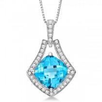 Diamond Accented Blue Topaz Pendant Neklcace 14k White Gold (2.53ct)