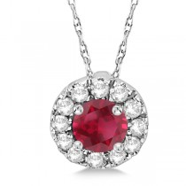 Round Halo Diamond and Ruby Pendant 14k White Gold (0.53ct)