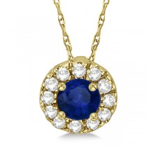Round Halo Diamond and Blue Sapphire Pendant 14k Yellow Gold (0.48ct)