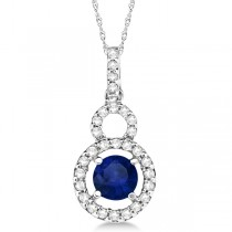 Dangle Drop Diamond and Blue Sapphire Pendant 14k White Gold (0.90ct)