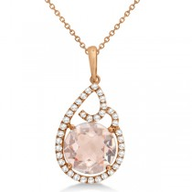 Teardrop Shaped Morganite & Diamond Necklace in 14K Rose Gold 3.43ct
