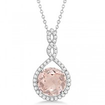 Morganite & Diamond Pendant Halo Necklace 14k White Gold 3.57ct