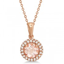 Pink Morganite & Diamond Halo Pendant Necklace 14k Rose Gold 1.01ct