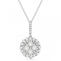 Diamond Accented Cluster Fashion Pendant in 18k White Gold (0.99ct)