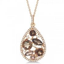 Diamond and Smokey Quartz Fashion Pendant in 14k Rose Gold (2.41ct)