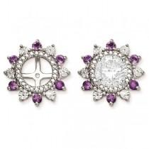 Diamond Accented Flower Amethyst Earring Jackets