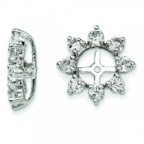 White Topaz Flower Earring Jackets in Sterling Silver (1.28ct)