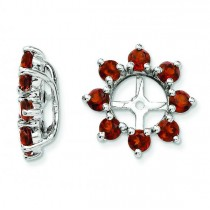 Garnet Flower Earring Jackets in Sterling Silver (1.34ct)