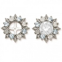 Diamond Accented Aquamarine Earring Jackets