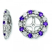 Diamond & Amethyst Earring Jackets Sterling Silver (0.45ct)