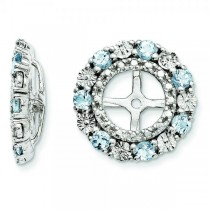 Diamond & Aquamarine Earring Jackets Sterling Silver (0.49ct)