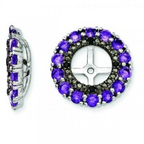 Amethyst & Black Sapphire Earring Jackets in Sterling Silver (0.94ct)