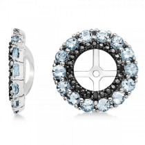 Aquamarine & Black Sapphire Earring Jackets in Sterling Silver (0.89ct)
