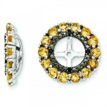 Citrine & Black Sapphire Earring Jackets in Sterling Silver (0.99ct)