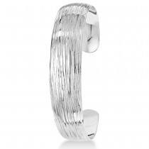 Textured Slip-On Bangle Bracelet in Plain Metal Sterling Silver