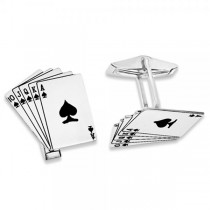 Royal Flush Cuff Links in Plain Metal Sterling Silver