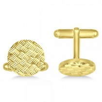 Woven Design Vermeil Round Cuff Links in Sterling Silver