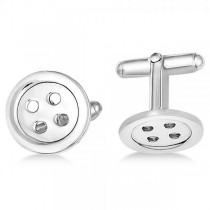 Button Design Cuff Links in Plain Metal Sterling Silver