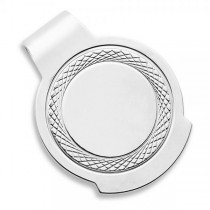 Engravable  Circular Money Clip in Plain Metal Sterling Silver