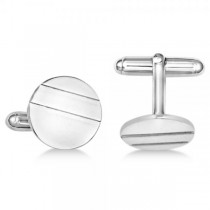 Circle Cufflinks in Plain Metal Sterling Silver