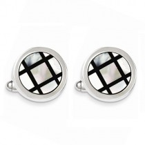 Black Enamel & Mother of Pearl Cuff Links Sterling Silver