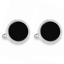 Rhodium Plated Black Circle Cuff Links Sterling Silver