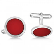 Red Enameled Circle Cuff Links in Sterling Silver