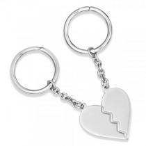 Split Heart Dual Key Chain in Plain Metal Sterling Silver